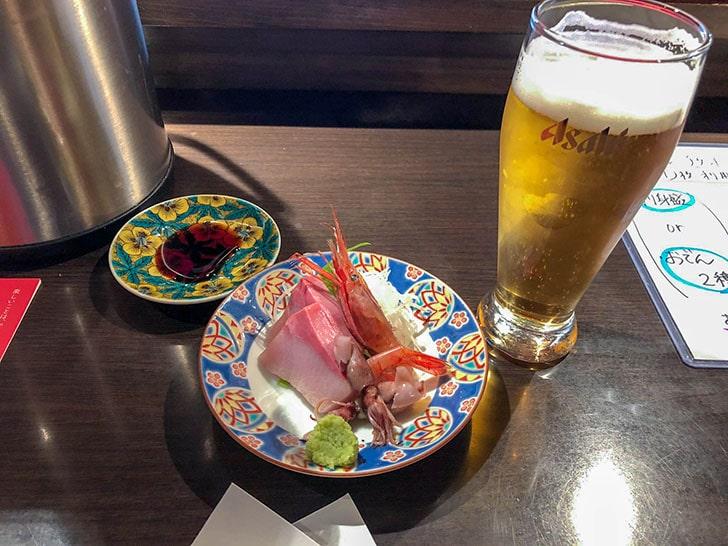 刺身盛合とビール