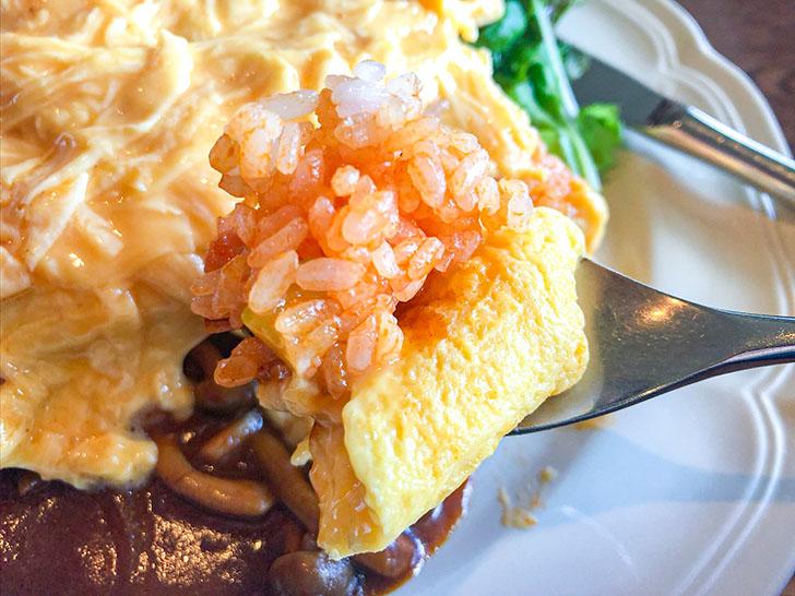 chezcouple(CHEZ COUPLE(シェクープル)) 自家製煮込みハンバーグ添えオムレツライス 大盛 (デミグラスソース) ケチャップライス