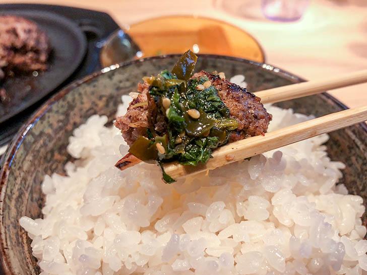 焼肉ホルモン 金閣 青唐辛子と大葉の薬味とハンバーグ